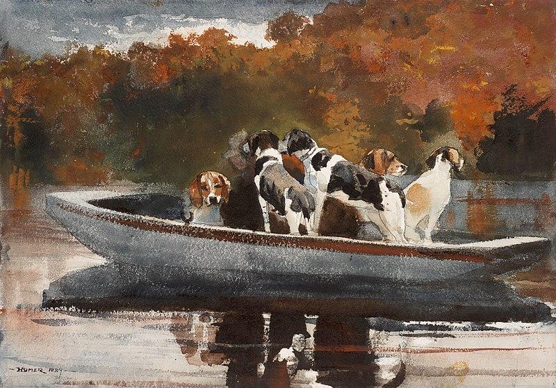 Perros de caza en un barco - Winslow Homer