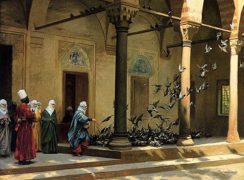 Mujeres del harén alimentando palomas en un patio - Jean-Léon Gérôme