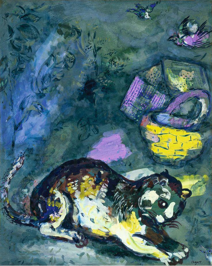 El gato y dos gorriones - Marc Chagall