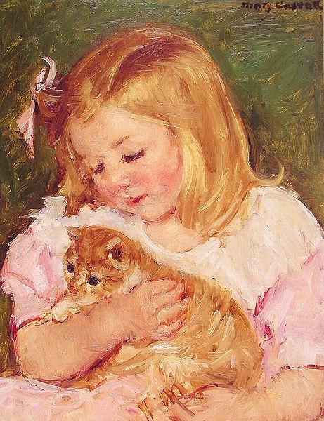 Sara sosteniendo un gato - Mary Cassatt